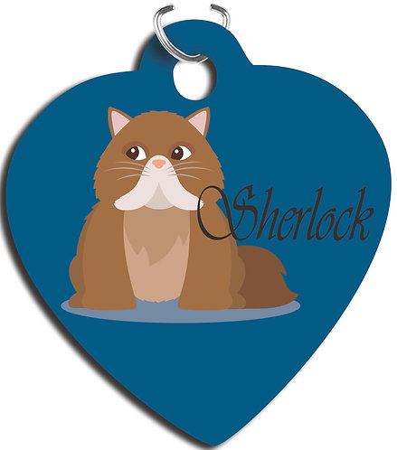 Heart 2-Sided Gloss Aluminum Pet Tag with Triangle Attachment