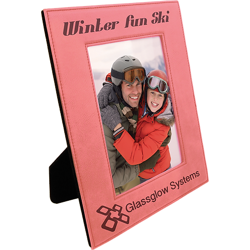 "4"" x 6"" Pink Brown Leatherette Photo Frame"