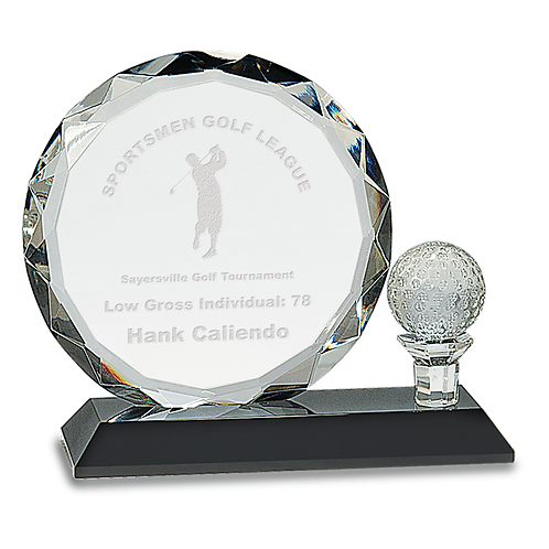 Round Crystal with Golf Ball