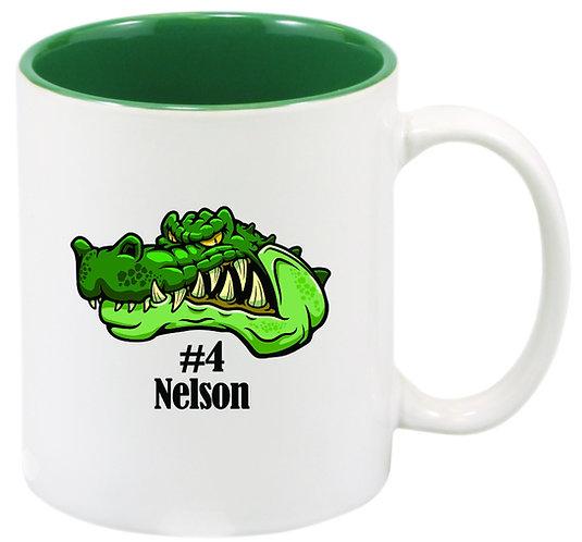 White & Green Ceramic Mug