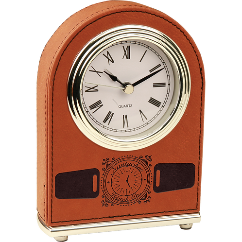 Rawhide Leatherette Arch Desk Clock