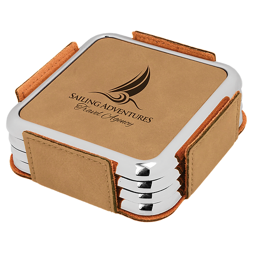 Light Brown Leatherette Square 4-Coaster Set with Silver Edge