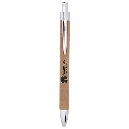 Light Brown Leatherette Pen with Black Ink