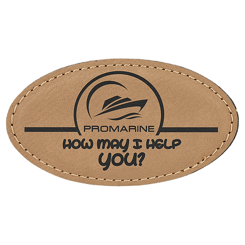 Light Brown Leatherette Oval Name Badge with Magnet