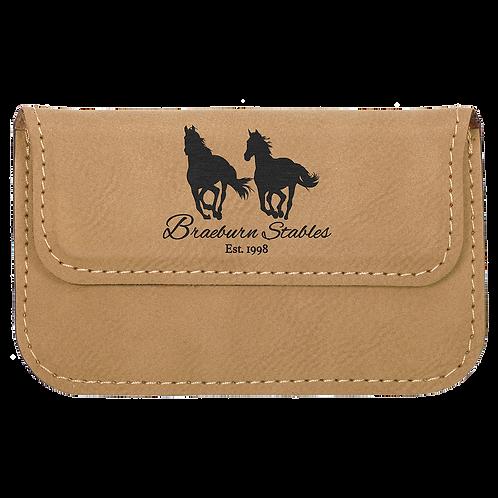 Light Brown Leatherette Flexible Business Card Holder