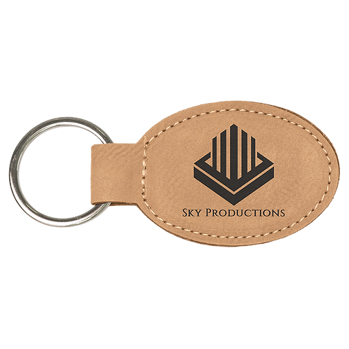 Light Brown Leatherette Oval Keychain
