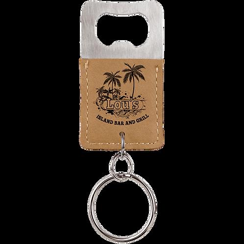 Light Brown Leatherette Rectangle Bottle Opener Keychain