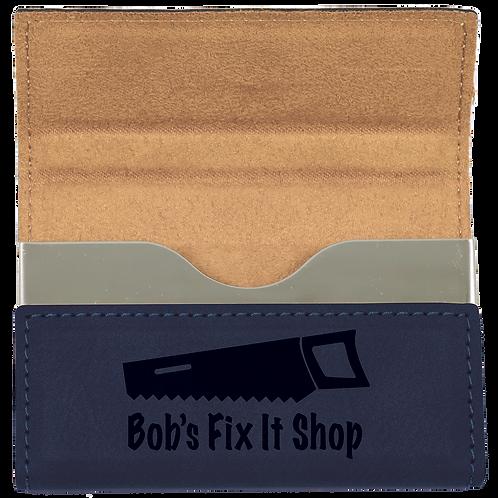 Blue Leatherette Hard Business Card Holder