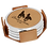 Thumbnail: Light Brown Leatherette Round 4-Coaster Set with Silver Edge