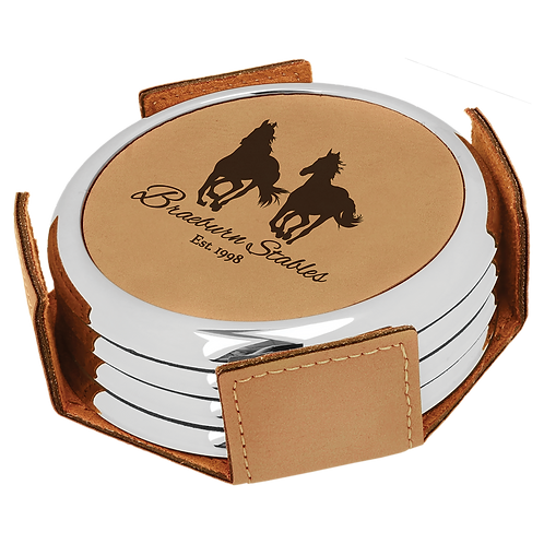Light Brown Leatherette Round 4-Coaster Set with Silver Edge