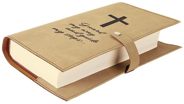 Light Brown Leatherette Book/Bible Cover with Snap Closure