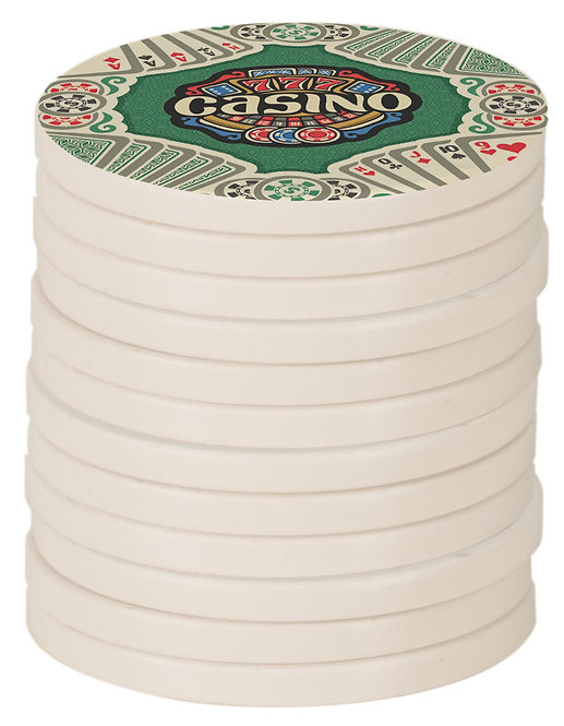 White Edge 2-Sided Plastic/Ceramic Poker Chips