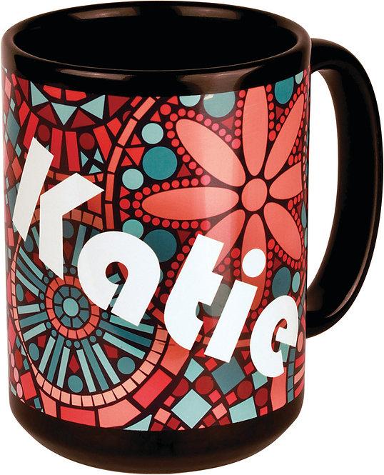 15 oz. Ceramic Black & White Banner Mug