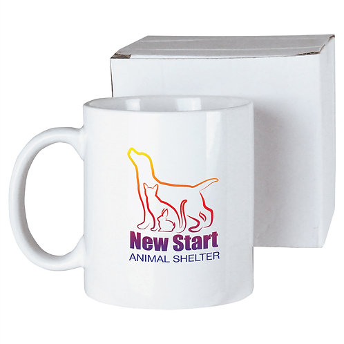 11 oz. White Ceramic Mug in White Box