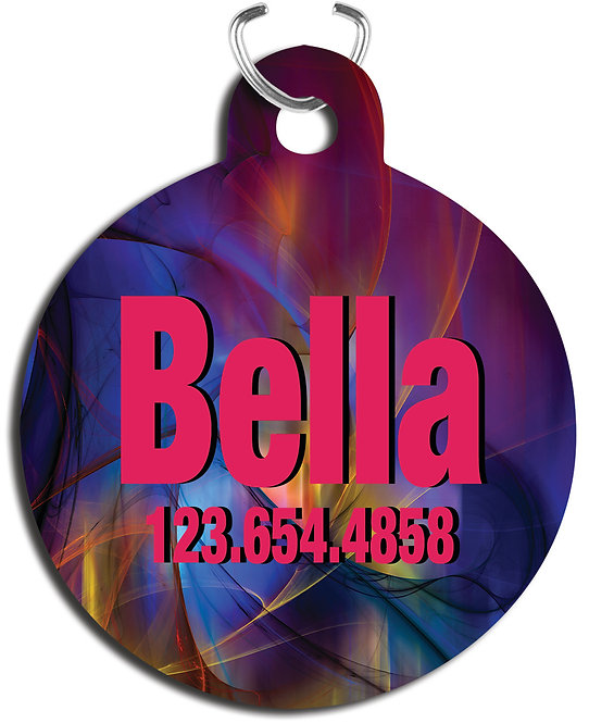Round 2-Sided Gloss Aluminum Pet Tag with Triangle Attachment