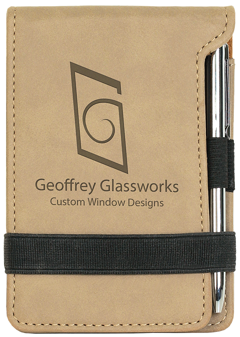 Light Brown Leatherette Mini Notepad with Pen & Paper