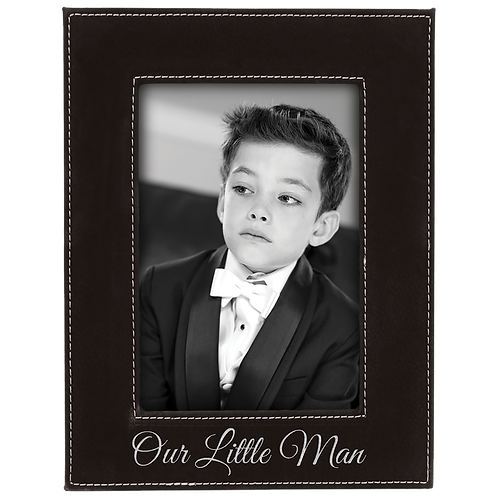 "4"" x 6"" Black & Silver Leatherette Photo Frame"