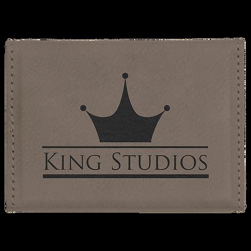 Gray Leatherette Hard Business Card Holder