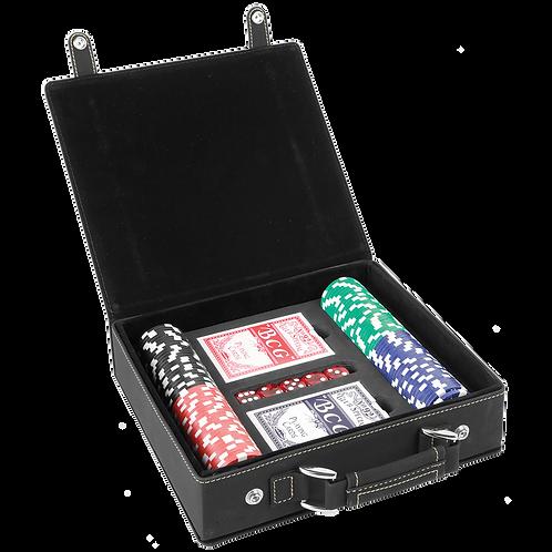 Black & Gold Leatherette 100-Chip Poker Set
