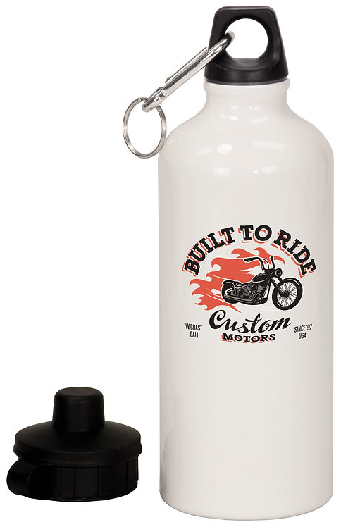 20 oz. White Aluminum Water Bottle with Carabiner & 2 Lids