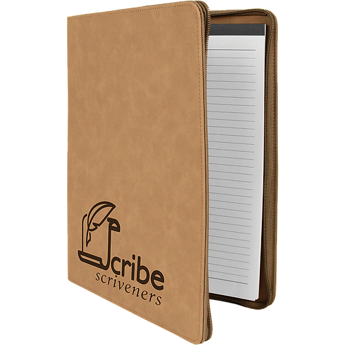 Light Brown Leatherette Portfolio with Zipper & Notepad