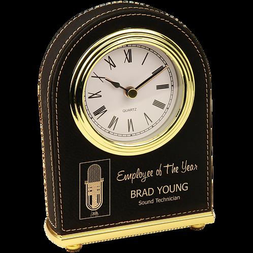 Black & Gold Leatherette Arch Desk Clock