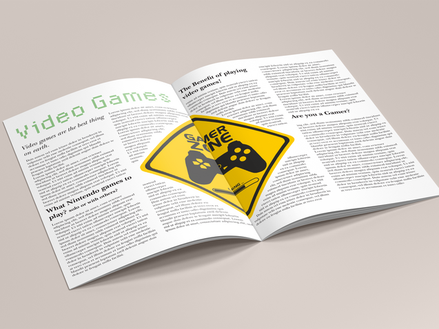 video games articles concept inside magazine