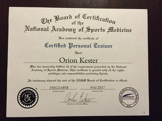NASM Certification! Certified Personal Trainer.