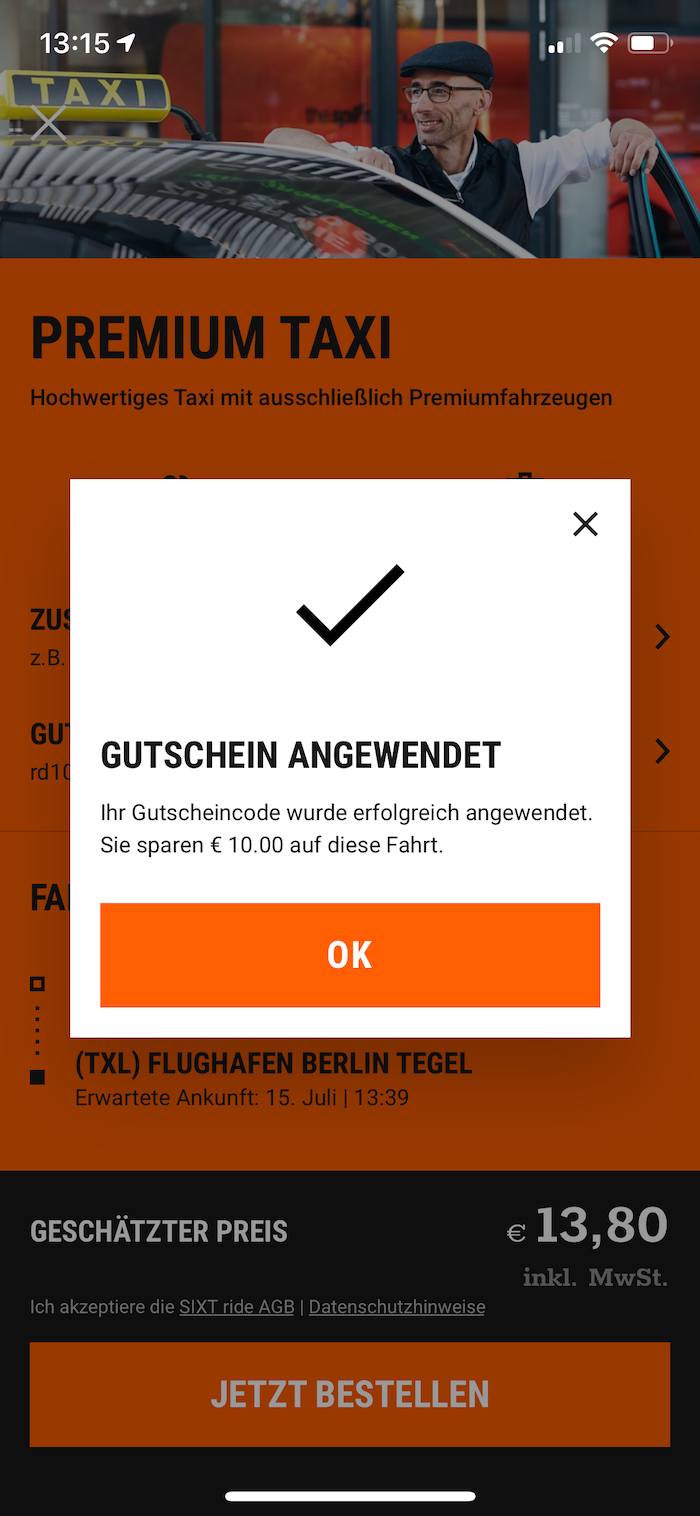Sixt App Gutschein