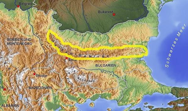 Landkarte von Bulgarien und Kennzechnung vo Balkangebirge