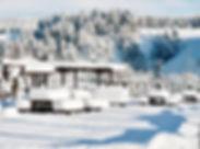 Hotelterasse im Winter