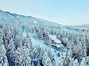 Hotel mitten im schneebedecktem Wald