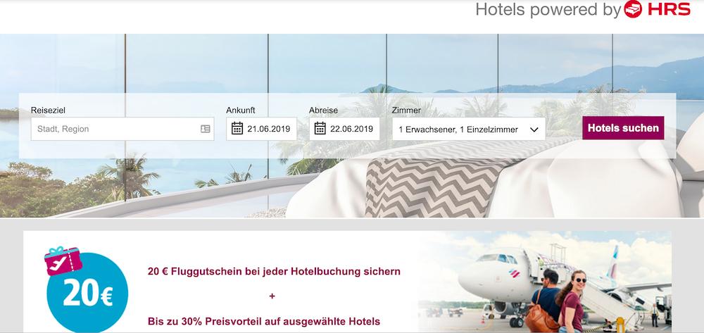 eurowings Fluggutschein bei Hoteluchung