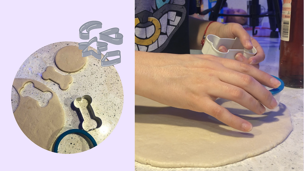 Using cookie cutters to make the shape of the DIY Pet Keepsake