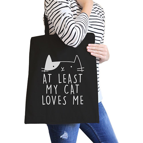 AT LEAST MY CAT LOVES ME BLACK BAG