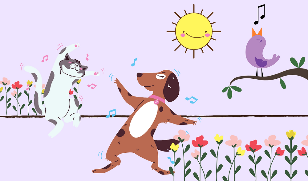A dog and cat dancing to the a bird's song after they're anxiety is managed at home