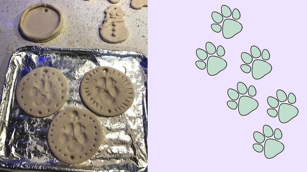 Adding your pet's pawprint to dough for the pet keepsake