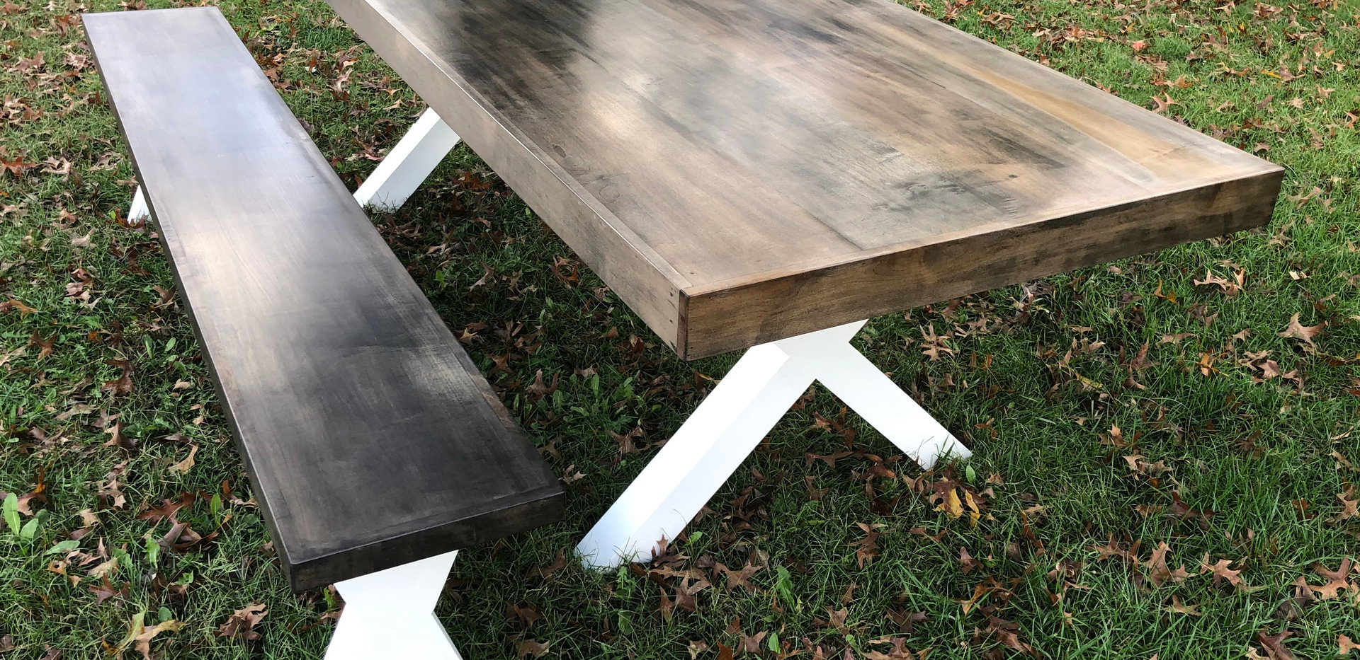 Driftwood Farmhouse Table & matching Bench