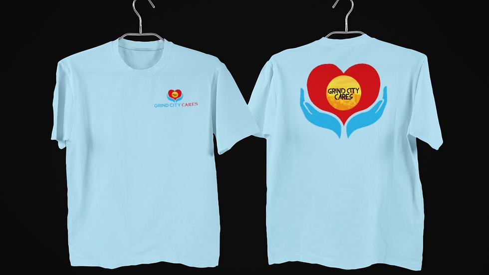 Light Blue Grind City Cares shirt