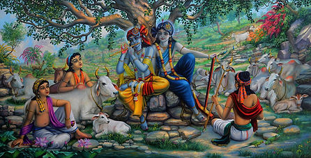 Krishna_and_Balaram_on_top_of_Govardhan_