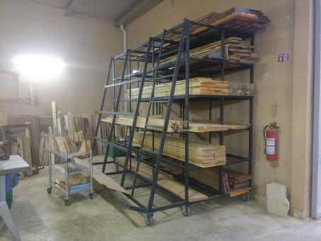Wood rack, Table tops for desks, exterior tables, Lighting installation, Art installations