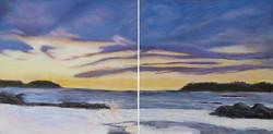 purple sky snowy beach