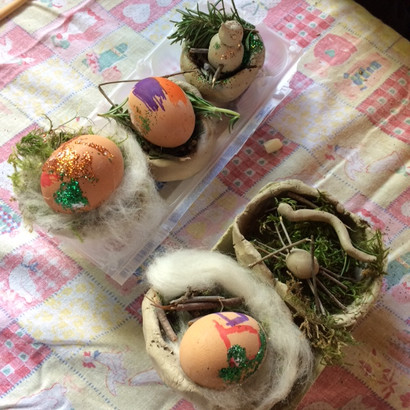 "Decorated ""dinosaur eggs"""