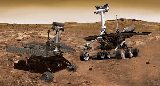 The Mars Spirit and Opportunity Rovers Side by Side on the Red Planet, Artist Rendering (Credit: Matzav)