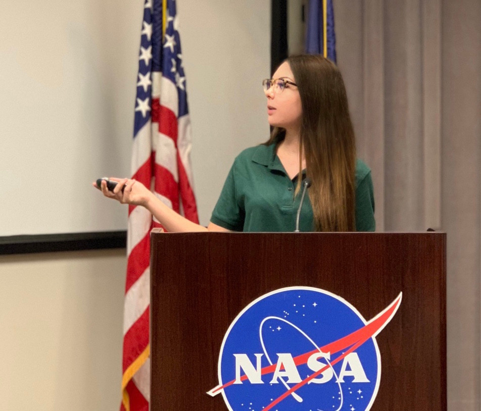 Lia N. Rovira (Astrolia) Speaking and Presenting Her Project Research at a NASA Stennis Center Panel