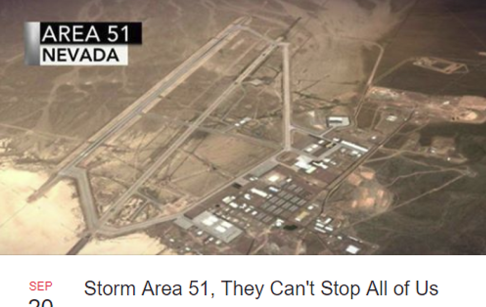 "A Facebook event called ""Storm Area 51, They Can't Stop All of Us"" will meet up near the Nevada Air Force base, then search captive aliens. (Credit: WREG)"