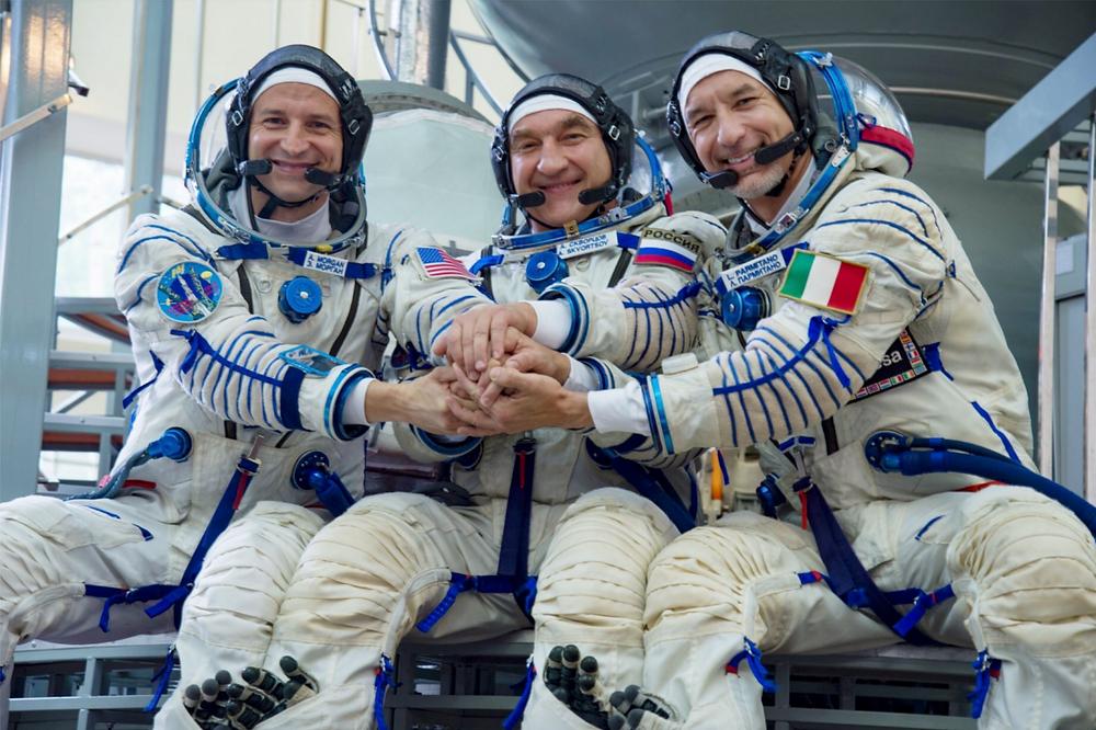 Astronauts Andrew Morgan (NASA), Luca Parmitano (ESA), and Alexander Skvortsov (Roscosmos) are planned to continue with Expedition 60. (Source: Samantha J.)