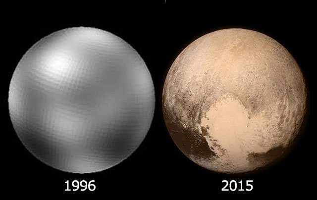 How the First Photo of Pluto Changed from 1996 to 2015 (Credit: PetaPixel)