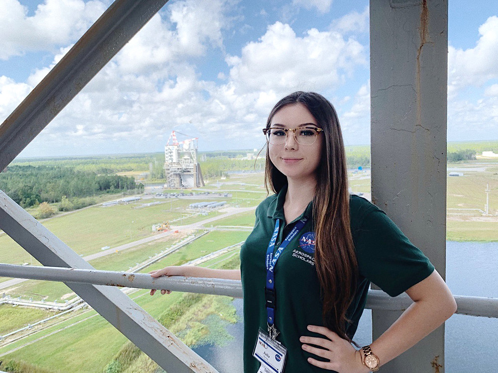 Lia N. Rovira (Astrolia) Pictured from Top of A-2 Rocket Engine Test Stand at NASA Stennis Space Center, Mississippi
