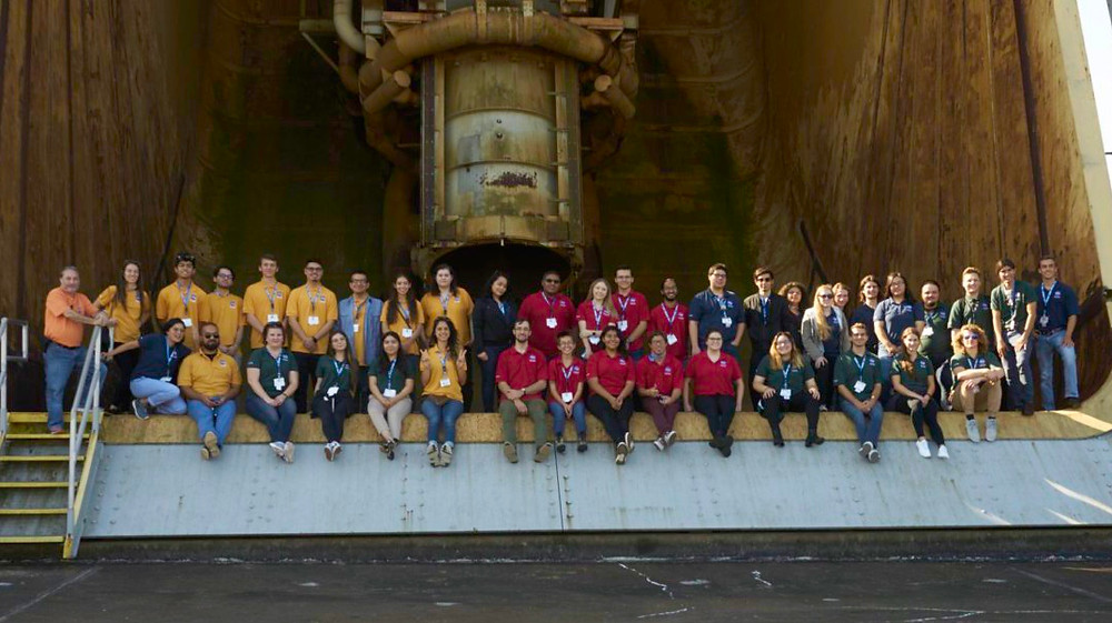 Group Photo of the Stennis Center Fall 2018 NCAS Participants from the Bottom of the A-2 Test Stand